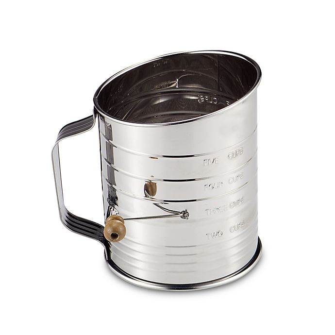 Alternate image 1 for Mrs. Anderson's Baking® Hand Crank 5-Cup Flour Sifter in Stainless Steel