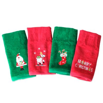 Christmas Fingertip Towel In Red Green Set Of 4 Bed