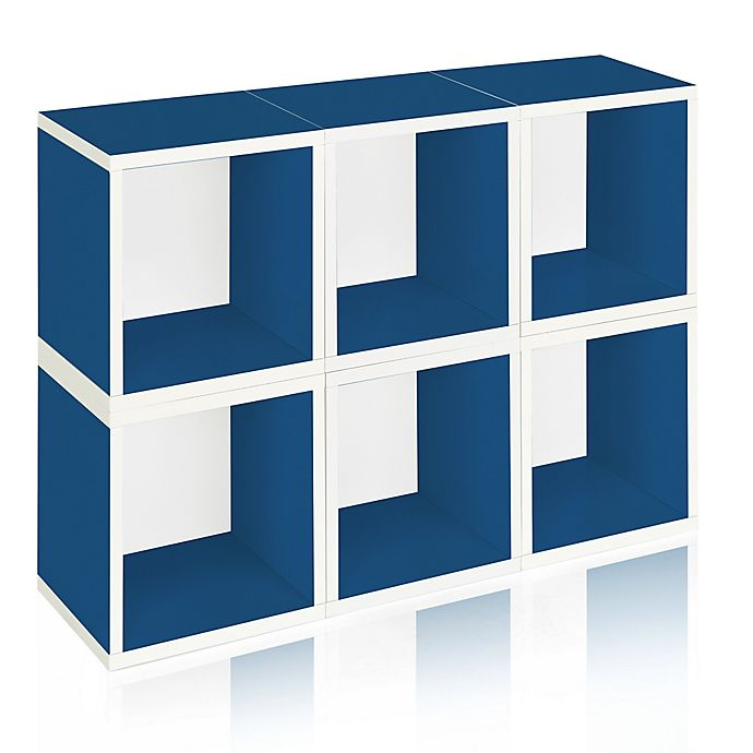 Alternate image 1 for Way Basics Tool-Free Assembly zBoard paperboard Storage Cubes in Blue (Set of 6 Cubes)