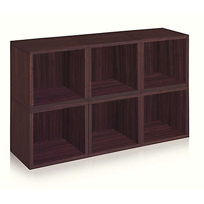 Way Basics Tool-Free Assembly zBoard paperboard Storage Cubes in Espresso (Set of 6 Cubes)