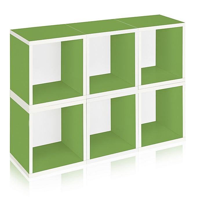 Alternate image 1 for Way Basics Tool-Free Assembly zBoard paperboard Storage Cubes in Green (Set of 6 Cubes)