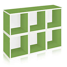 Way Basics Tool-Free Assembly zBoard paperboard Storage Cubes in Green (Set of 6 Cubes)