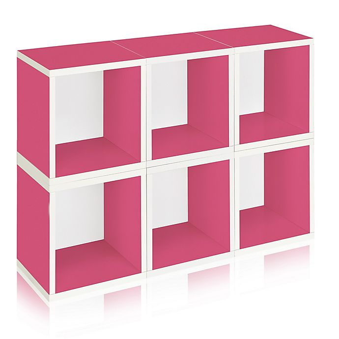 Alternate image 1 for Way Basics Tool-Free Assembly zBoard paperboard Storage Cubes in Pink (Set of 6 Cubes)