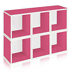 Way Basics Tool-Free Assembly zBoard paperboard Storage Cubes in Pink (Set of 6 Cubes)