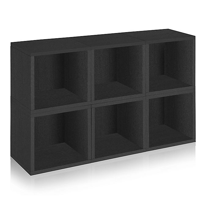 Alternate image 1 for Way Basics Tool-Free Assembly Stackable Storage Cubes and Bookcase in Black (Set of 6 Cubes)