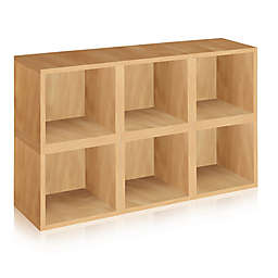 Way Basics Tool-Free Assembly zBoard paperboard Storage Cubes in Natural Wood Grain (Set of 6 Cubes)