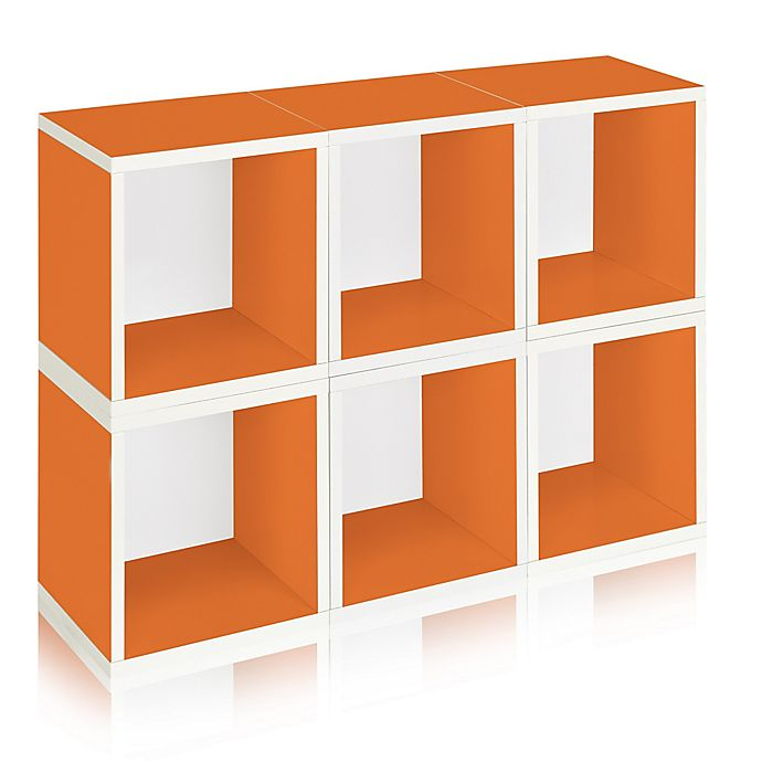 Alternate image 1 for Way Basics Tool-Free Assembly zBoard paperboard Storage Cubes in Orange (Set of 6 Cubes)