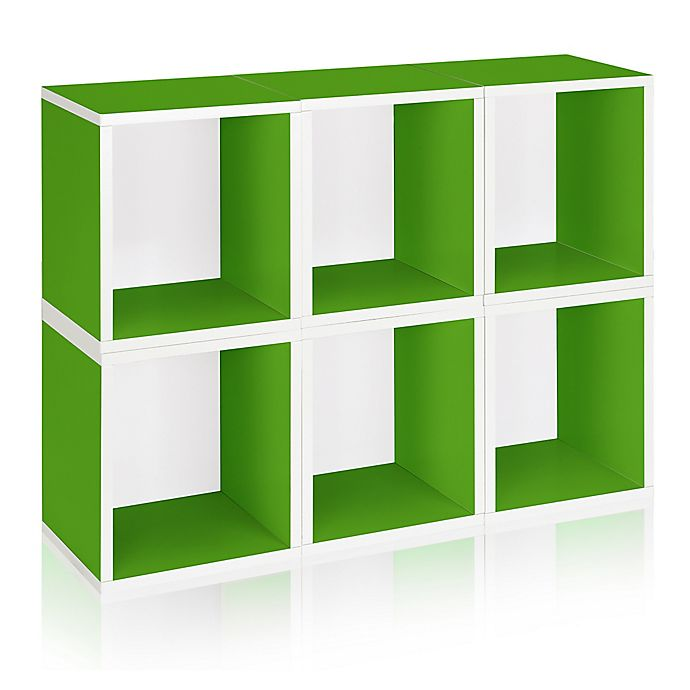 Alternate image 1 for Way Basics Tool-Free Assembly zBoard paperboard Tall Storage Cubes in Green (Set of 6)