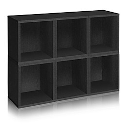 Way Basics Tool-Free Assembly zBoard paperboard Tall Storage Cubes in Black Wood Grain (Set of 6)