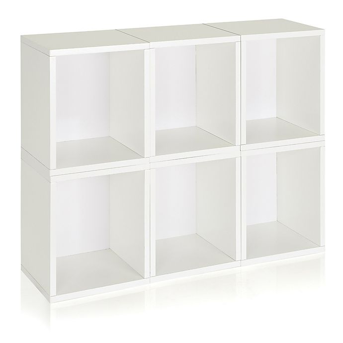 Alternate image 1 for Way Basics Tool-Free Assembly zBoard paperboard Tall Storage Cubes in White (Set of 6)