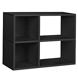 Way Basics Tool-Free Assembly 2-Shelf Chelsea Bookcase and Storage Shelf in Black Wood Grain