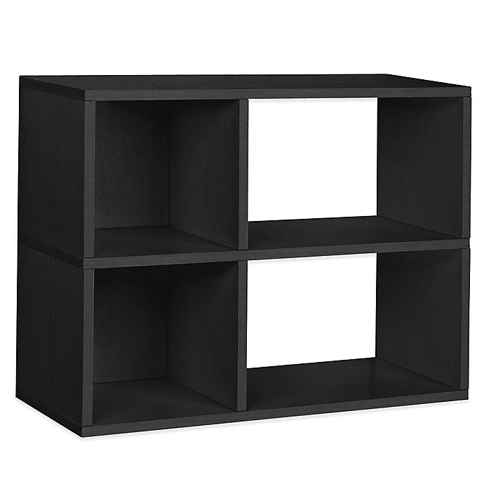Alternate image 1 for Way Basics Tool-Free Assembly 2-Shelf Chelsea Bookcase and Storage Shelf in Black Wood Grain