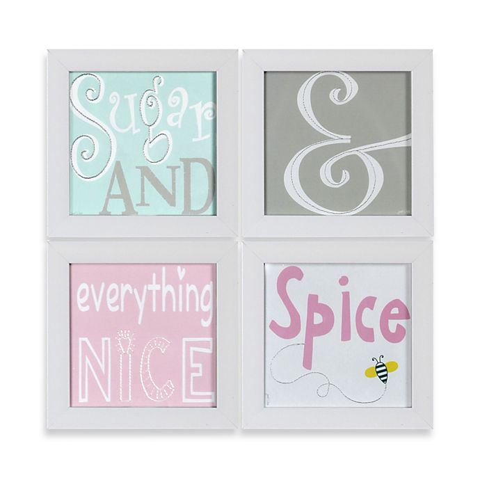 Alternate image 1 for Sugar & Spice Stitched Nursery Prints Framed Art (Set of 4)
