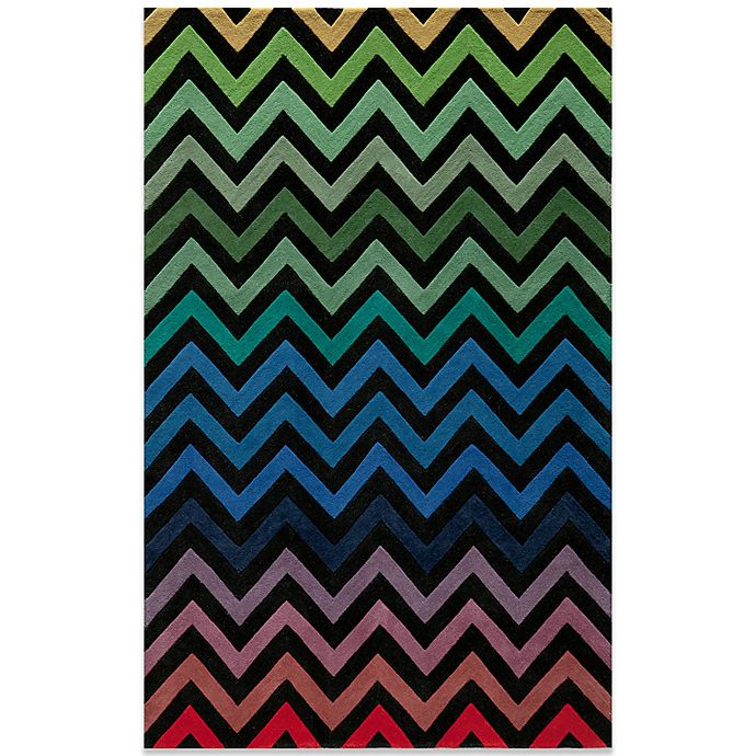Alternate image 1 for Momeni Delhi Wool Rug in Black/Chevron