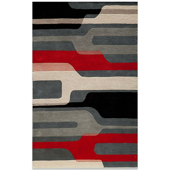 Alternate image 1 for Momeni Delhi 5-Foot x 8-Foot Wool Rug in Black/Red/White