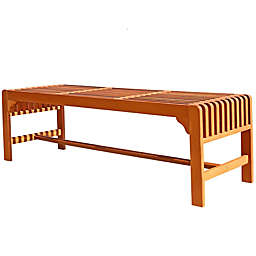 Vifah Rectangle All Weather Backless Bench in Natural Wood