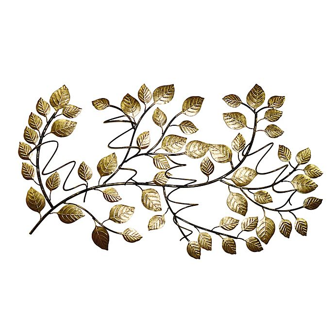 Alternate image 1 for Black Box 23-Inch x 37-Inch 4-Bottle Metal Leaves Wine Rack in Gold