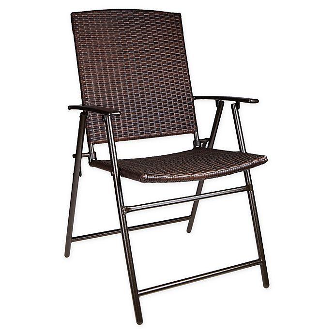 Alternate image 1 for Barrington Folding Wicker Chair in Brown