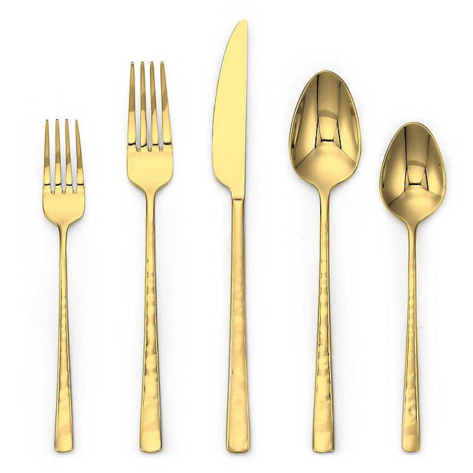 Alternate image 1 for Olivia & Oliver® Harper 5-Piece Flatware Place Setting in Gold