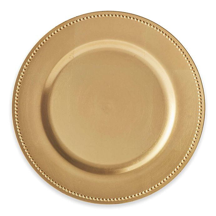 Alternate image 1 for Beaded Charger Plates in Gold (Set of 6)
