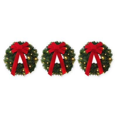 18 Inch Pre Lite Battery Operated Wreaths Set Of 3 Bed Bath Beyond
