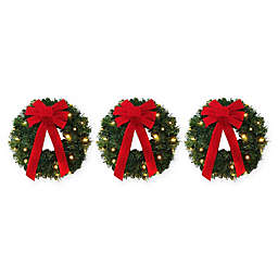 18-Inch Pre-Lite Battery-Operated Wreaths (Set of 3)