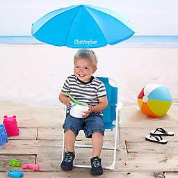Kid's Blue Beach Chair & Personalized Umbrella Set