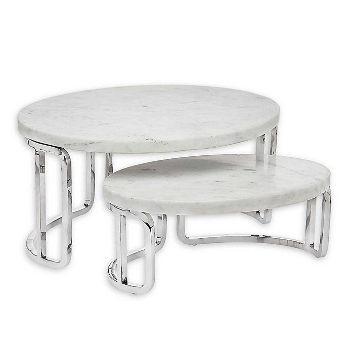 Alternate image 1 for Olivia & Oliver™ Marble 2-Piece Nesting Serving Tray Set