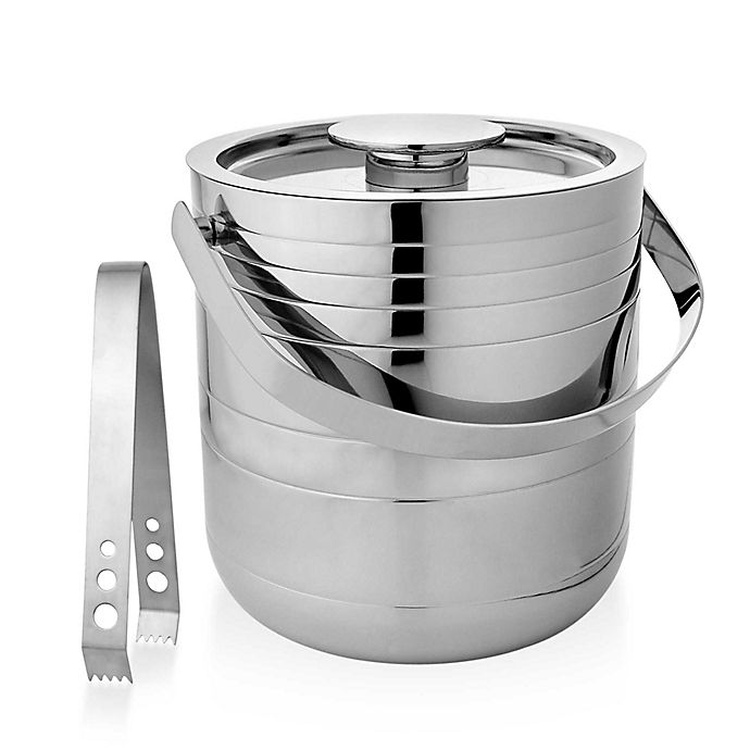 Alternate image 1 for Stainless Steel Ice Bucket with Tongs
