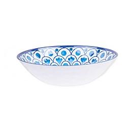 Scalloped Tile Fish Melamine Pasta Bowl in White/Blue