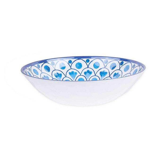 Alternate image 1 for Scalloped Tile Fish Melamine Pasta Bowl in White/Blue