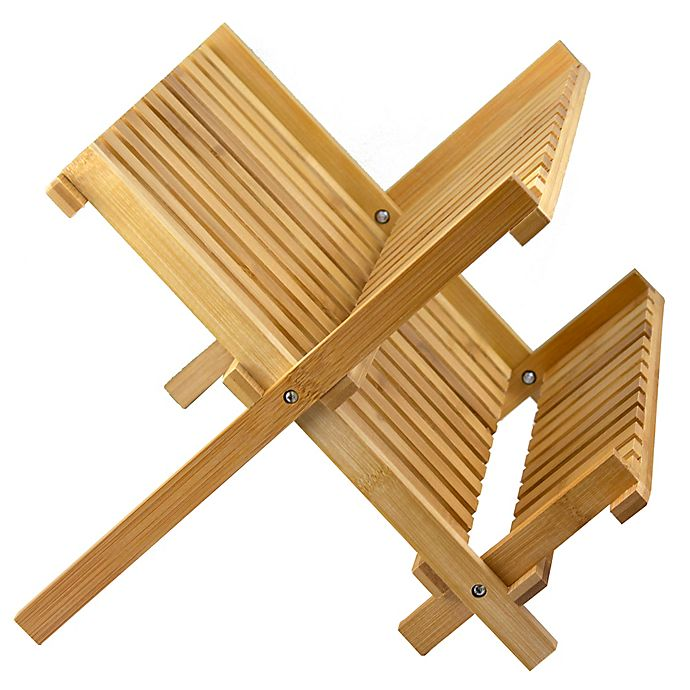 Alternate image 1 for Bamboo Folding Dish Rack