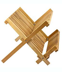 Escurridor plegable de bambú