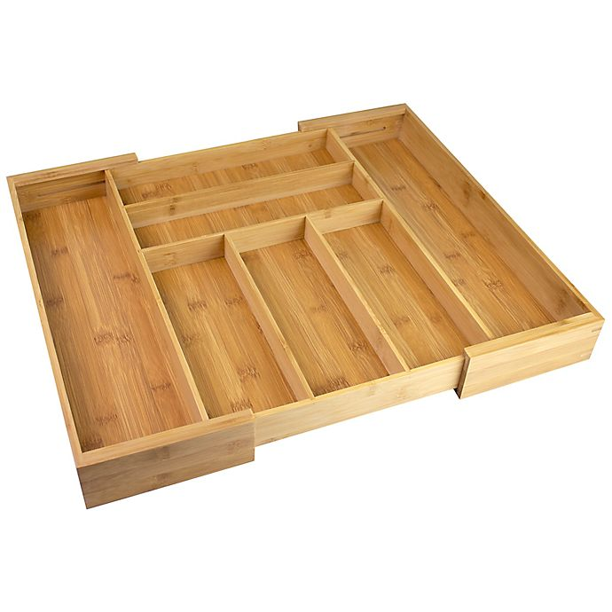 Alternate image 1 for Bamboo Expandable Cutlery Organizer