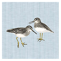 2 Sandpipers 12-Inch Square Canvas Wall Art in Linen/Blue