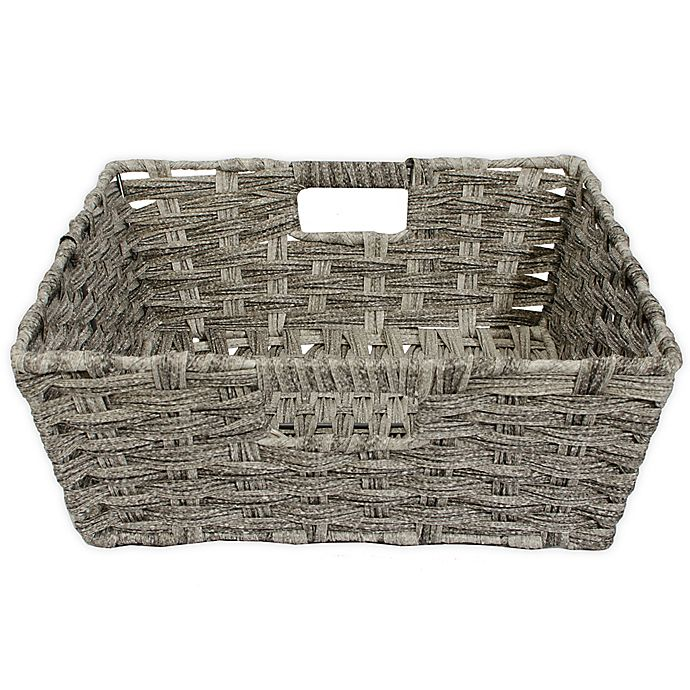 Alternate image 1 for SALT™ Faux Rattan Shelf Basket in Grey