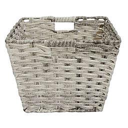 SALT™ Faux Rattan Large Shelf Basket in Grey