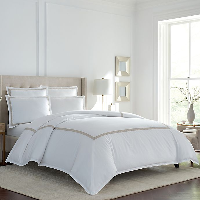 Alternate image 1 for Wamsutta® Bradford PimaCott® Embroidered European Pillow Sham in White
