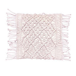 Global Caravan Ziane Macramé Square Throw Pillow in Blush