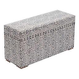 Global Caravan Wooden Floral Upholstered Storage Trunk in Grey