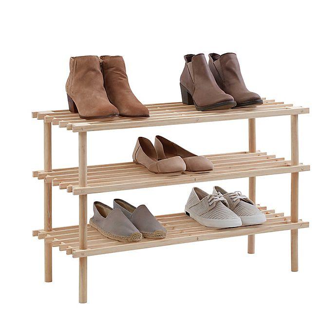 Alternate image 1 for SALT™ 3-Tier Stackable Natural Wood Shoe Rack