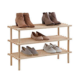 SALT™ 3-Tier Stackable Natural Wood Shoe Rack