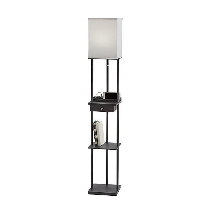 Alternate image 1 for Adesso Etagere Floor Lamp with Charging Station