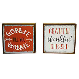 Harvest Assorted Decorative Tabletop Sign in White/Orange