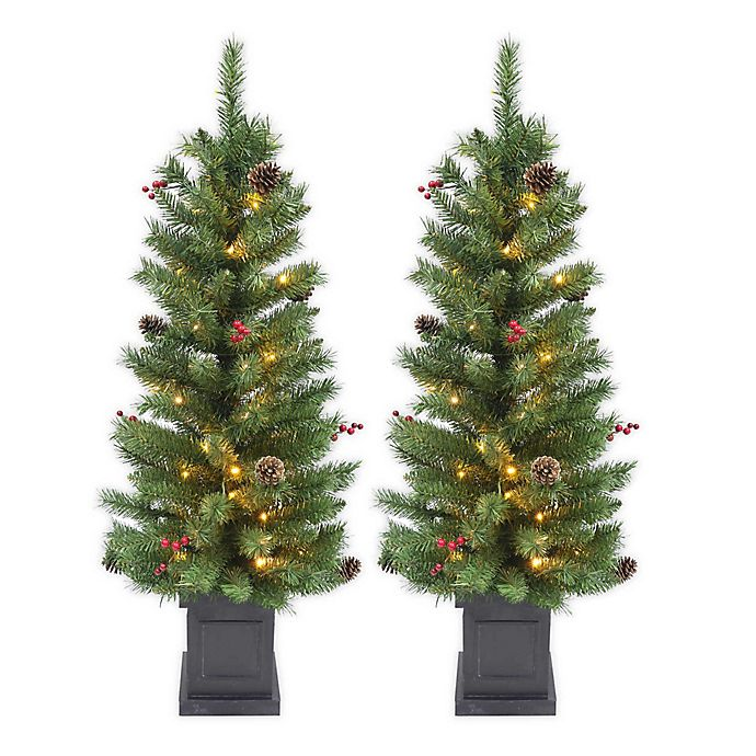 Alternate image 1 for 4-Foot Pre-Lit Porch Tree (Set of 2)