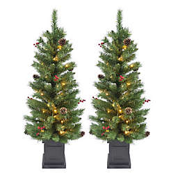 4-Foot Pre-Lit Porch Tree (Set of 2)