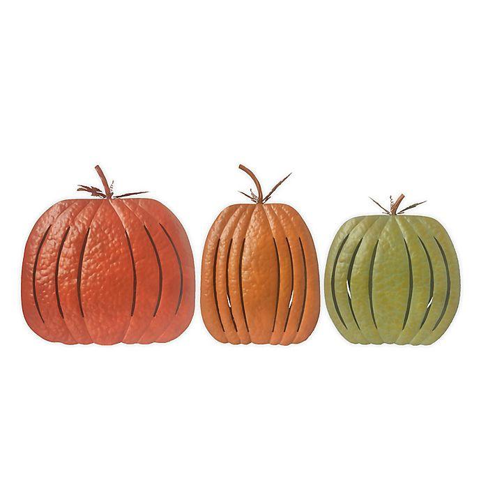 Alternate image 1 for 19-Inch Metal Pumpkin Decorations (Set of 3)