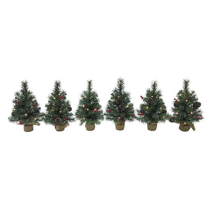 Alternate image 1 for 1.5-Foot Pre-Lit Traditional Frosted Berry Artificial Christmas Trees in Green (Set of 6)