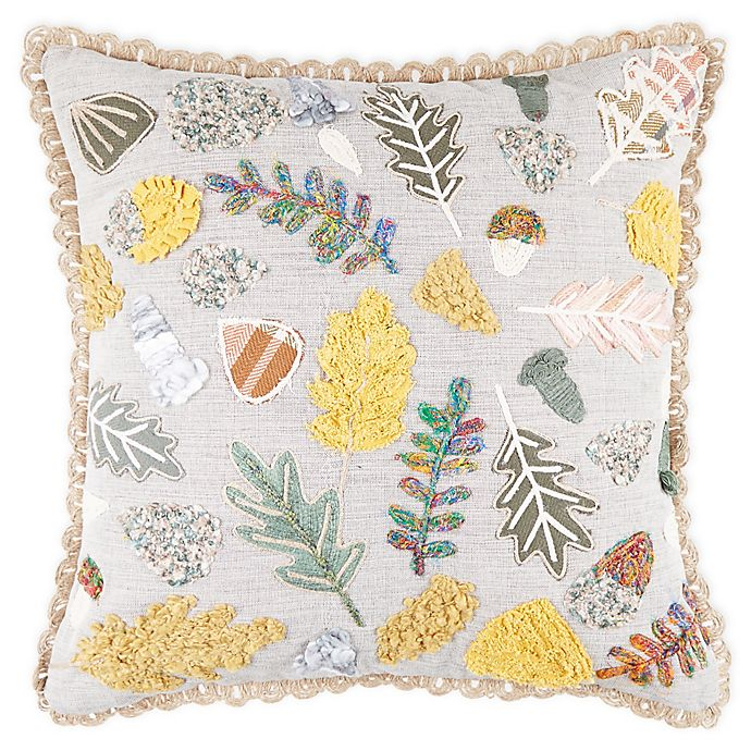 Alternate image 1 for Bee & Willow™ Home Multi Leaf Embroidered Square Throw Pillow