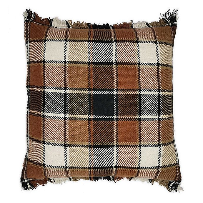 Alternate image 1 for Bee & Willow Home™ Fringe Plaid Square Throw Pillow in Spice